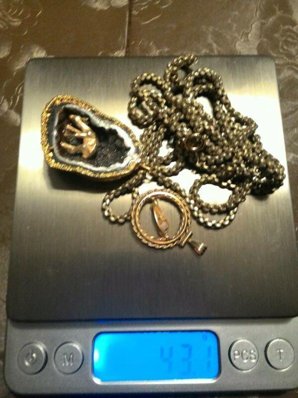 Vintage GF/Gold Plated Lot (3 Items) Geode Deer Pendant, Chain, Pyrite Pendant