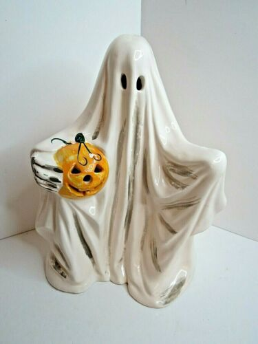 Vintage Dept 56 White Ghost with Pumpkin Ceramic Halloween Display