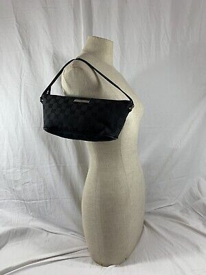 GUCCI vintage black canvas and leather pochette signature bag pouch