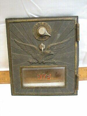 Vintage NATIONAL /'55 Grecian #2 MED-SIZE BRASS Post Office Box Door NICE #188