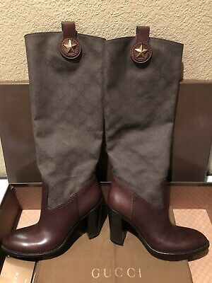 100% Authentic GUCCI Vintage Women GG Army Green Monogram Brown Leather Boots