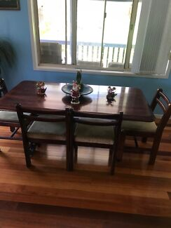 Dark timber dining table + 6 chairs