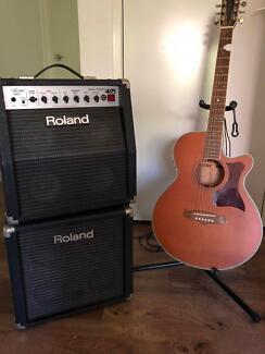Roland 405 32W Quad Box Amp with speaker cabinet