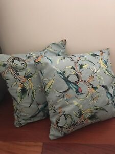 Two H&M Turquoise bird/flower throw pillow.