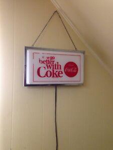 Rare Vintage 1960's Backlit Fluorescent Coke Sign