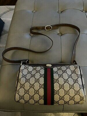 Vintage 80s Gucci Ophidia Web Accessories Collection Brown Crossbody Bag