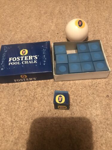 Fosters Pool Chalk Set Of 12 Individually Labeled And Snooker Cue Ball