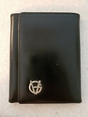 Gianni Versace Black Leather tri-Fold Wallet