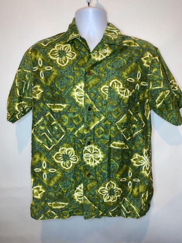 Vtg Hawaiian Shirt Tailor Hawaii Medium M Green Tropical Short Sleeve 60's 70's