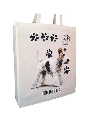 Fox Terrier Wirehair (b) Cotton Shopping Bag with Gusset Xtra Space Perfect Gift