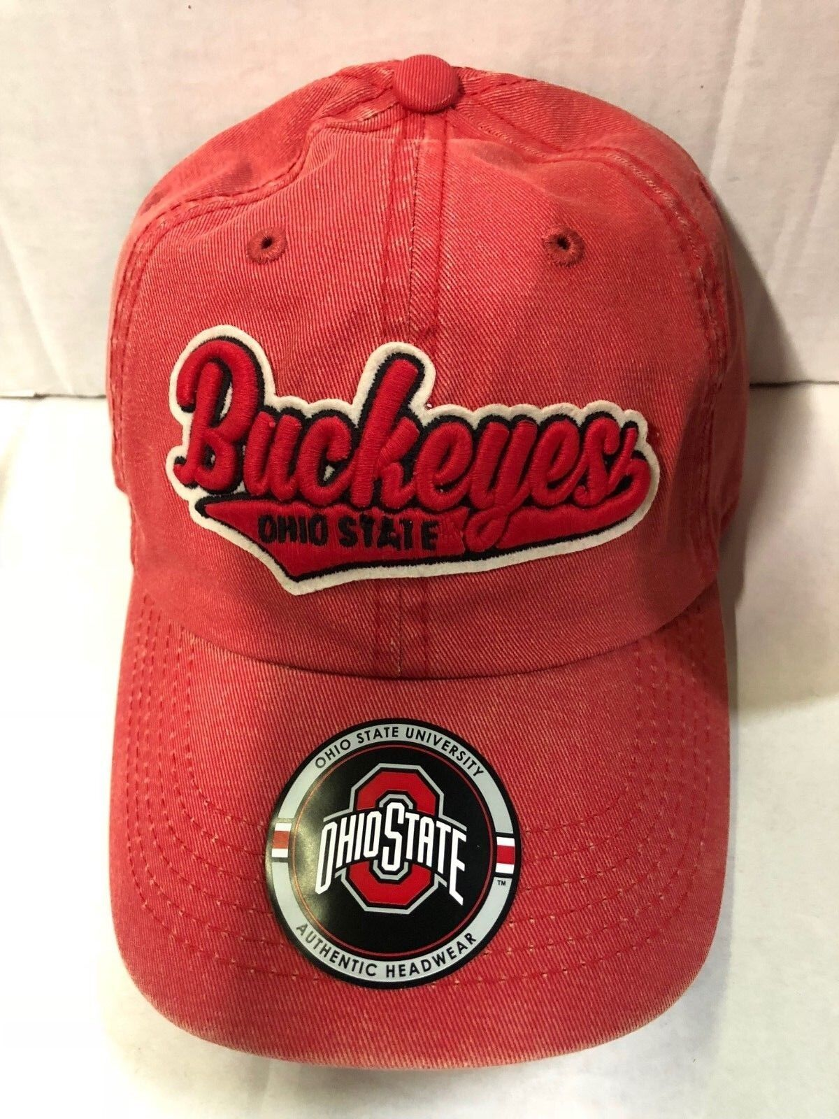 Adjustable Ohio State Buckeyes Red Top of the World Mens Flat Brim Fitted Hat Team Icon