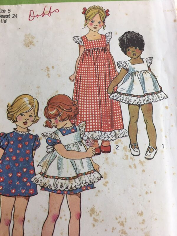 1973 Simplicity 5534 Vintage Sewing Pattern Childs Pinafore Dress Size 5