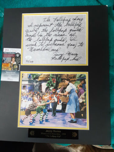 Wizard Of Oz Jerry Maren  Autographed 16x20 hand written Lollipop Song  JSA Cert