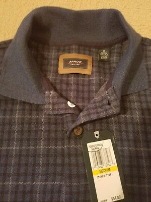 Men's Arrow Blue Polo heritage knits long sleeve shirt size med NEW WITH TAGS