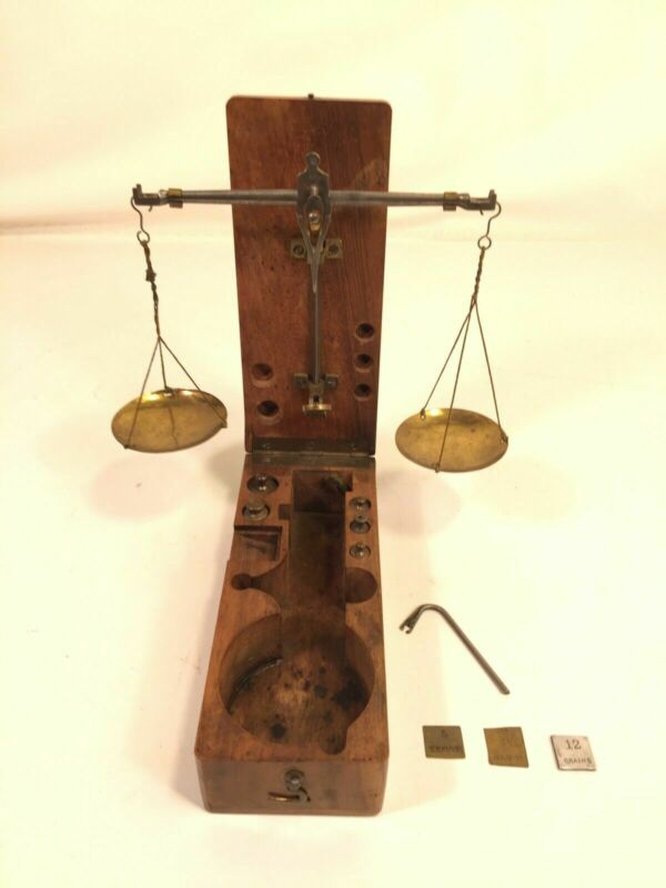 Antique Brass Apothecary Travel Scale Weights Wood Box