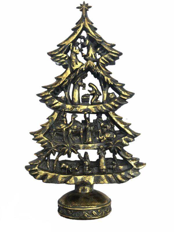 "12"" Nativity Scene Gold Christmas Tree Resin Figure Mary Joseph Jesus Statue"