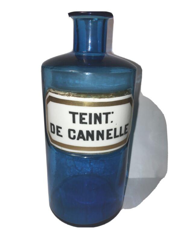 Antique Blue Glass Apothecary Pharmacy Bottle Porcelain Label TEINT: DE CANNELLE