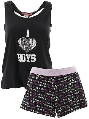 5 More Minutes Juniors I Love Boys Black Short Pajamas Shorty PJs Boy Black Pjs Pajamas