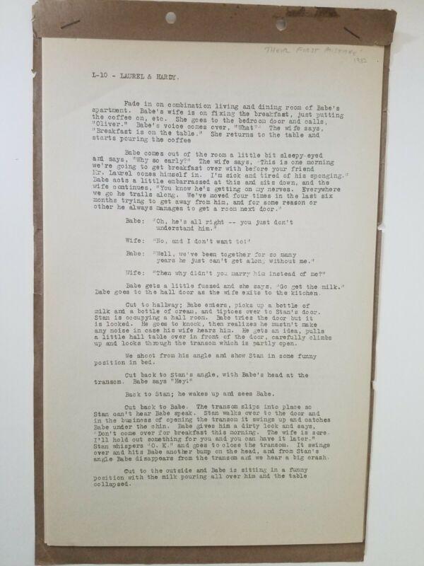 LAUREL & HARDY Original Short Subject Script /1932 Their First Mistake