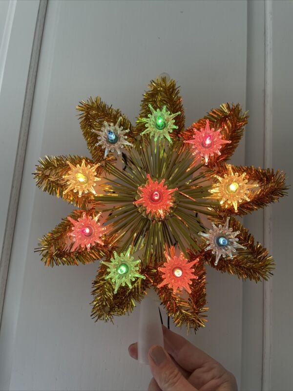 Vintage Christmas Tree Star Gold Light Up Tinsel Topper BEAUTIFUL!