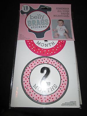 BABY GIRL BELLY BRAG TIE STICKERS MONTHLY MILESTONES