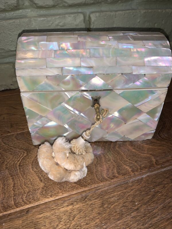 Rare Gorgeous Antique Vintage 20th Century Veneered Mother of Pearl Trinket Box