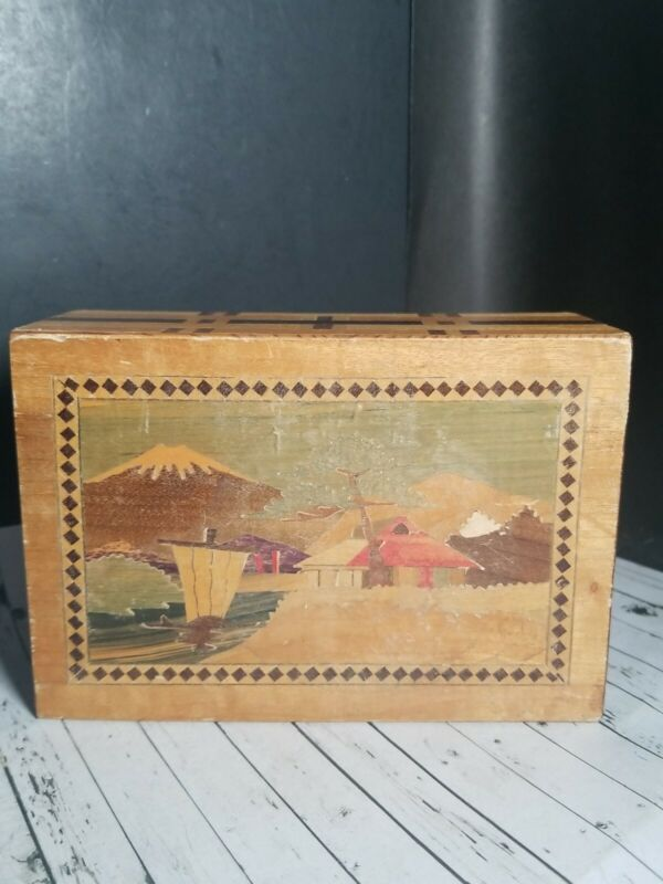 """Vintage Japanese Inlaid Wood Puzzle Box Faded Colors 1 Secret Drawer 5.5x3.75x2"""""""