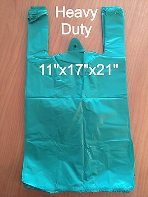 HEAVY DUTY GREEN VEST CARRIER BAGS 11