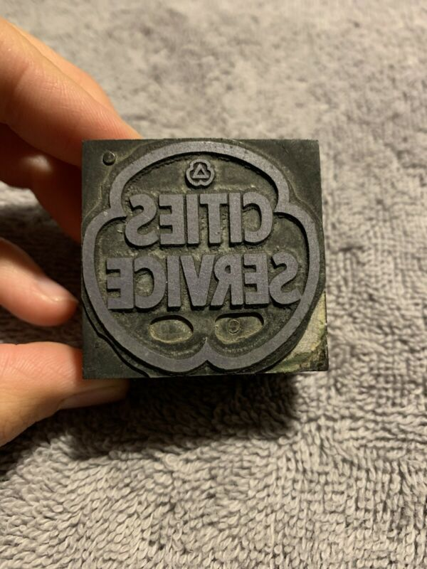 Vintage Cities Service Oil Company Letterpress Printer Block Stamp CITGO