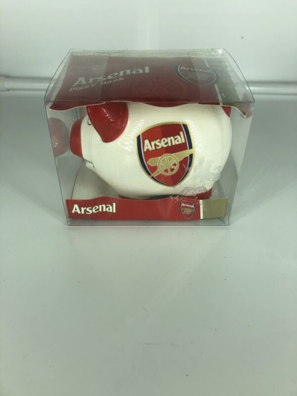 Ceramic White And Red Arsenal Piggy Bank