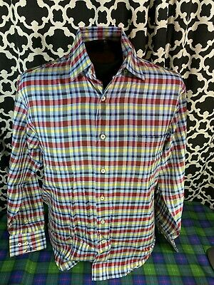 Robert Talbott Light Blue Red Yellow Plaid LS Dress Shirt - Sz. M