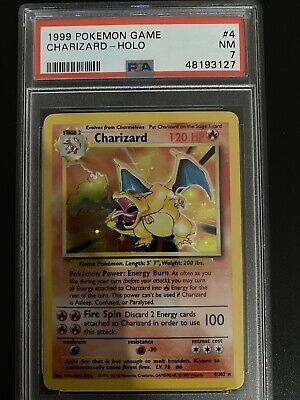 1999 Pokemon Base Set Unlimited Holo Charizard #4 PSA 7 NM