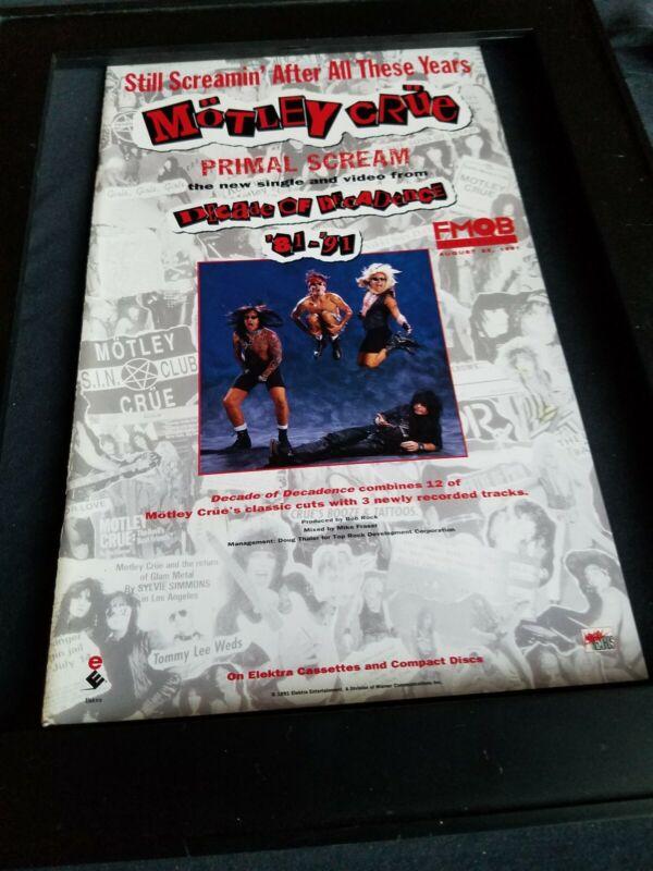 Motley Crue Primal Scream Rare Original Radio Promo Poster Ad Framed!