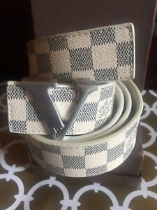 Beautiful White Silver Leather Belt in Box