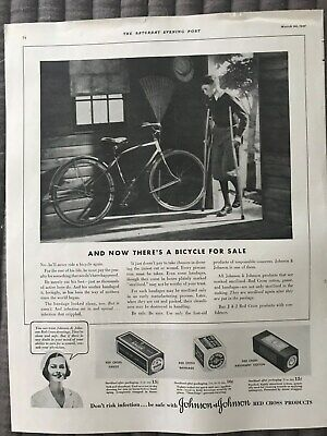 Johnson's Red Cross Products~Theres A Bicycle For Sale~1937 Vintage Print AD A91
