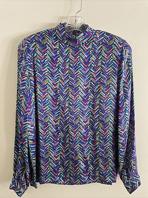 Vintage Valentino Woman's Silk Long Sleeve Geometric Blouse Top 44/10