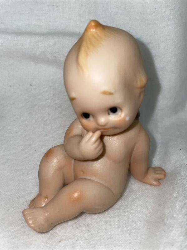 Vintage Crying Baby Kewpie Lefton  Porcelain  Figurine-Japan Cupid Blue Wing