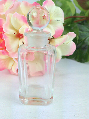 Vintage 8 Sided Clear Glass Perfume Apothecary Bottle w/ Round Ball Stopper 3""