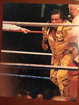 Jimmy Superfly Snuka  D17  Signed 8X10 Vintage Candid Wrestling Photo Wwe Wwf