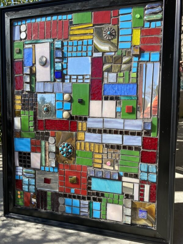 Modern Stained Glass Mosaic Panel Abstract  OOAK