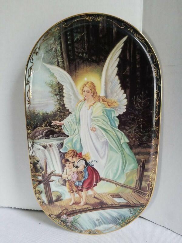 """Guardian Angel Watching Over Children Wall Plaque plate.German""""Behuteter Heimweg"""