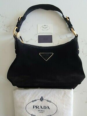 PRADA BR3134 Scamosciato Twi Nero Black Suede w/ Authenticity & Dust Bag