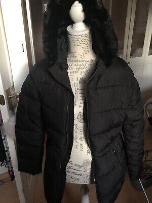 BNWT GAP Ladies Black Puffer Coat With Fur Trimmed Hood. Size Medium. £69.99