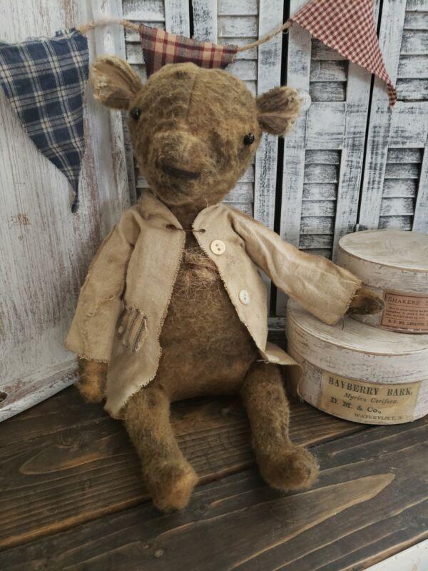 "Primitive Handmade Folk Art Bear 10"" Tall"