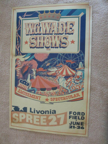Vintage 1977 Livonia Spree Poster W.G. Wade Shows  Livonia Michigan *