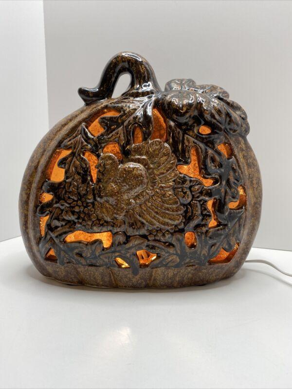 "Cracker Barrel ""Thanksgiving  Traditions"" Ceramic Pumpkin Lamp Autumn Fall"