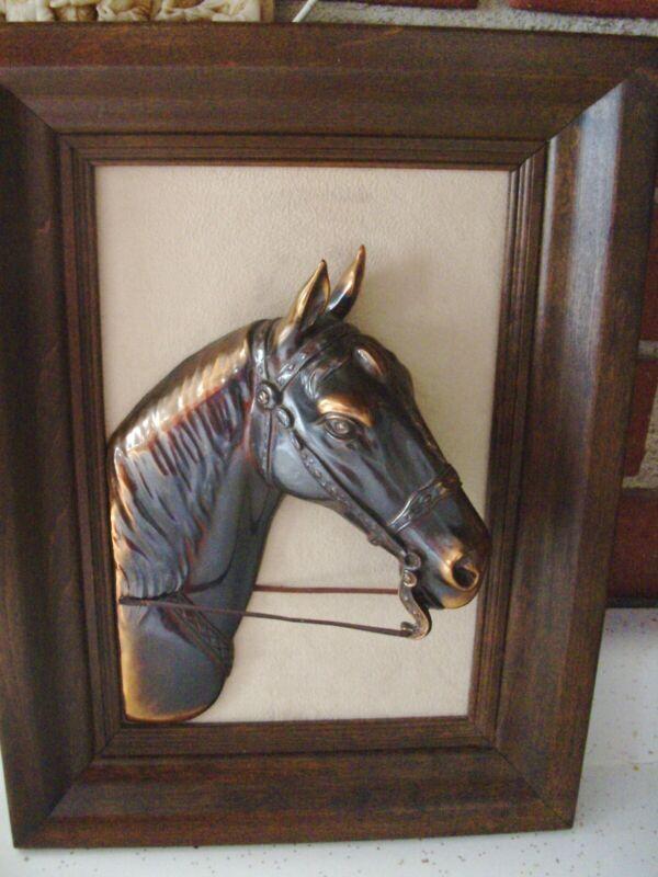 Vintage horse trophy, three dimensional Horse head plaque, very unique