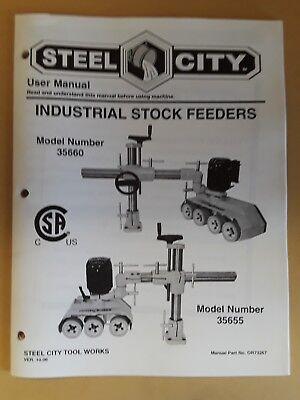 Steel City Tool Works User Owners Manual Book Stock Feeder Model 35660 Power