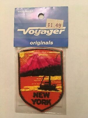 Vintage Voyager State of New York Sailboat and Mountains Patch NIP