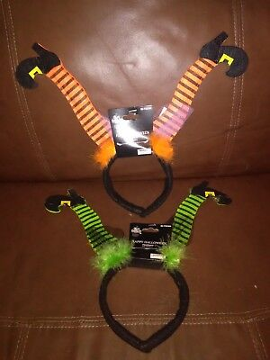 Orange and Green Witch Legs Halloween Headbands Set of - Halloween Witch Headbands